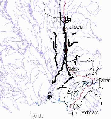 Figure 2. Bait distribution areas (heavy black) in the Mat-Su Valley, Alaska, Feb-Apr, 1999.