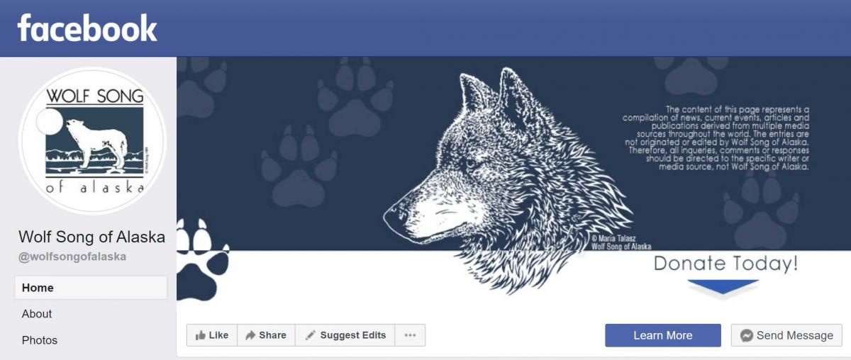 Wolf Song of Alaska Header from Facebook - Click to visit